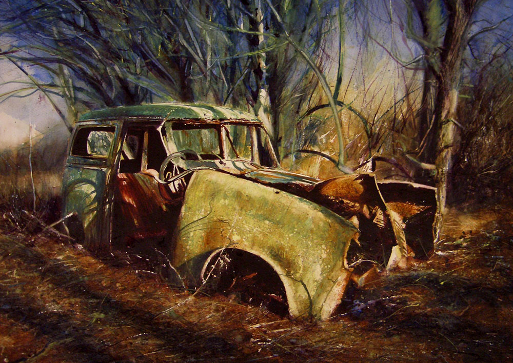 Car In Evening Wood