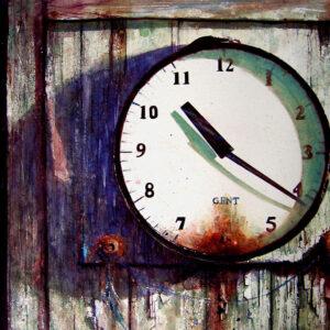 killing time, Shanghai Bienalle Award winner by David Poxon. An old clock at Tettenhall Cricket club. Watercolor painting by David Poxon International Watercolor Master.