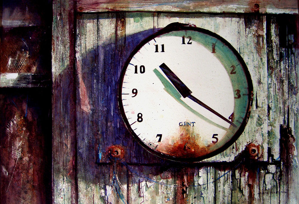 killing time, Shanghai Bienalle Award winner by David Poxon. An old clock at Tettenhall Cricket club. Watercolor painting by David Poxon International Watercolor Master.