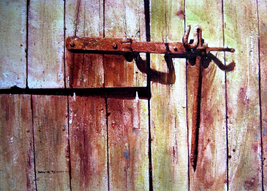 Barn dorrs. Old wood. Watercolor. Painting of old barn doors by David Poxon. Textured wood and rusting ironwork. Hans Zimmer. Private Collection