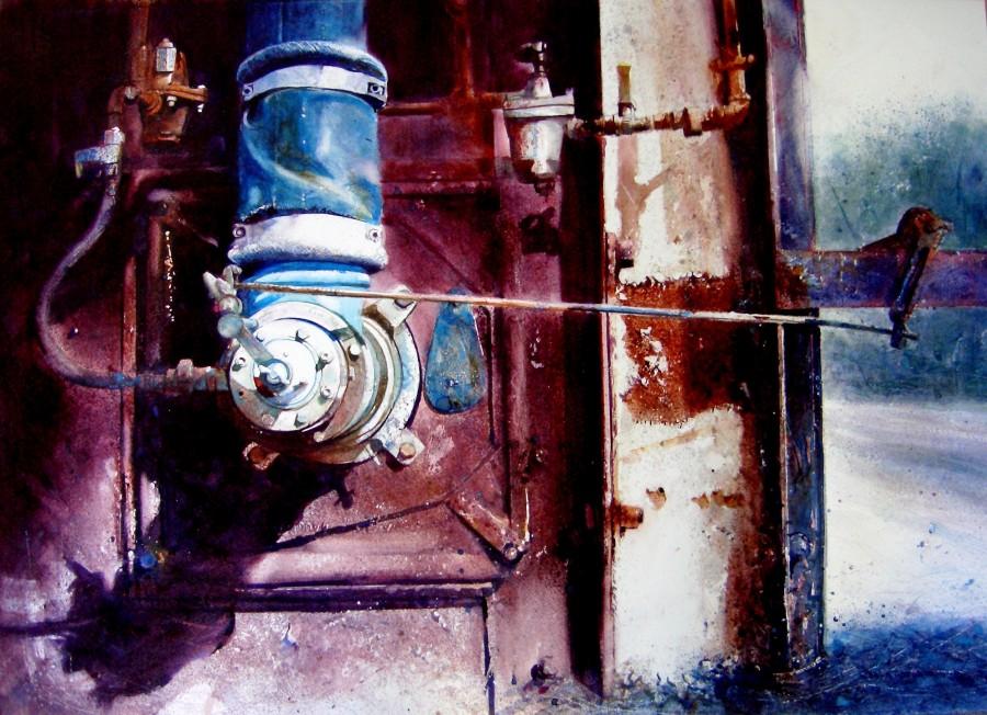 Men Worked Here, Watercolour by David Poxon