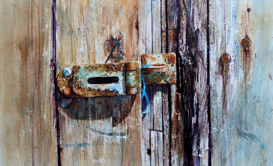 All pain will pass. An old door and padlock showing great texture and age , brilliantly painted by watercolor master artist David Poxon RI.