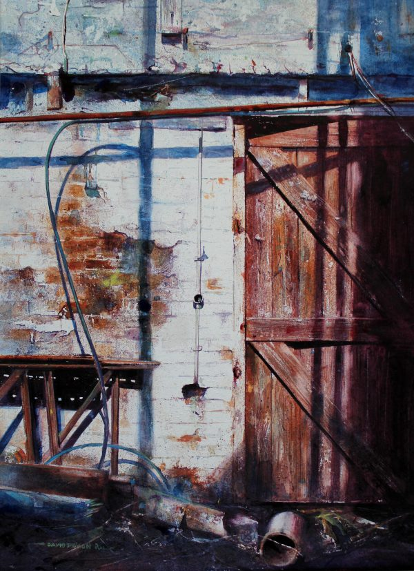 Wired. Award painting by David Poxon. An old factory , collapsing roof, collection of discarded items. Nature reclaiming what man has made. Masterful painting. Abandoned. Forgotten. Deserted.
