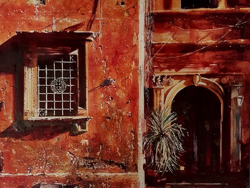 Roman holiday a masterwork by David Poxon RI. Downtown Rome basking in glorious sunshine. Watercolour masterpiece layers of transparent paint describe this Rome scene by David Poxon. David Poxon Watercolor.