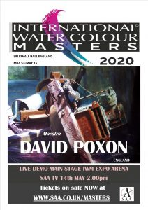 Watercolor Master David Poxon appearing live at International Watercolour Masters exhibition at Lilleshall Hall Shropshire England May 5 to May 15 2020. Tickets on sale now from www.saa.co.uk/masters watercolour exhibition, watercolor exhibition, exhibition, auarelle, expo, west midlands exhibitions, search for watercolor, watercolour search, the best watercolour, wc tips, wc, w/c, masters, masters, live demo, watercolour demo