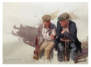 Painting by Eudes Correia 'the conversation' Eudes Correia is appearing at the International Watercolour Masters exhibition Lilleshall Hall May 5 to may 15 2020. Tickets on sale now from www.saa.co.uk/masters