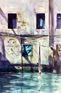 Venice backwater canal. A painting by David Poxon. This painting won the Malaysia Excellence Award in Penang in 2019.