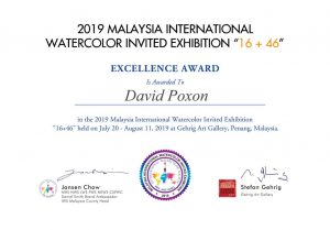 Penang Excellence Certificate won by David Poxon in 2019.