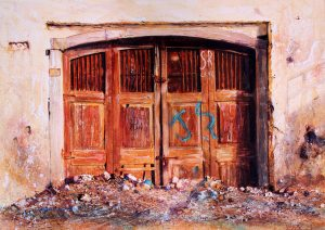 careless love by David Poxon. pure watercolor. Abandoned building in Karachi Pakistan