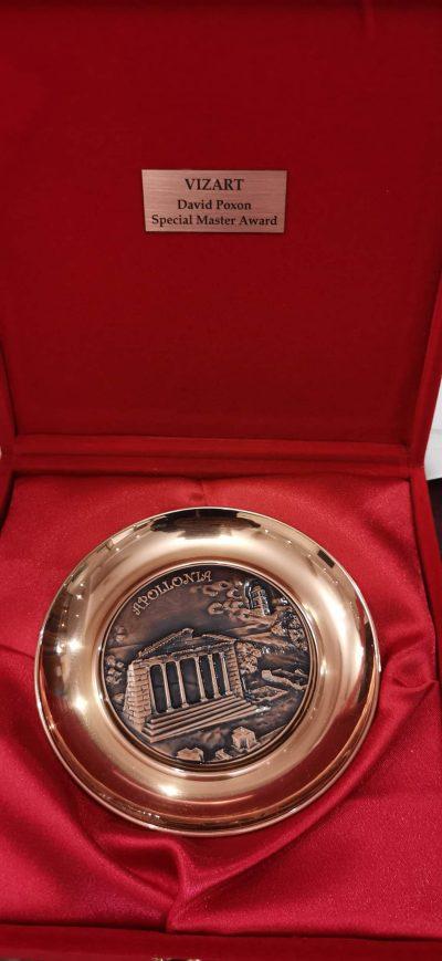 Gold Medal Award. David Poxon Special Master. Award for Poxon in Tirana National Museum. Watercolor artist David Poxon. Watercolour Artist David Poxon. Medal.