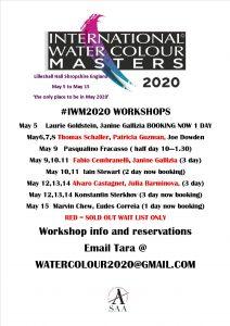 IWM2020. International Watercolour Masters. Watercolor Masters. World Masters. Workshops from the Masters. Masterclass at #iwm2020