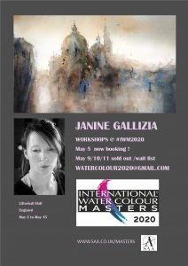 janine gallizia workshop at iwm2020.Gallizia stage at International Watercoloure Masters. Janine will run a workshop at the International Watercolour Masters exhibition at Lilleshall Hall Shropshire England in May 2020.