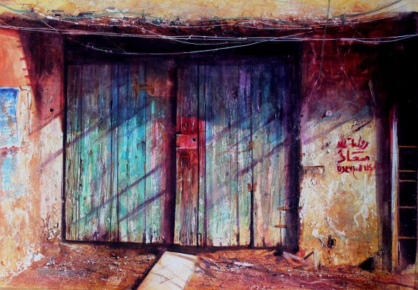David Poxon True Colours original watercolor painting by a Master artist. Masterwork. by David Poxon RI. A rustic door in down town Karachi Pakistan. Layers of peeling paint. Faded glory of a past life, brilliantly captured by David Poxon RI.