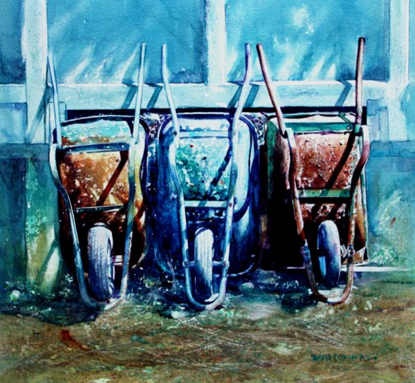 Lets go out tonight. International Watercolor Master. IMWA, International Masterr of Watercolour David Poxon. Three wheelbvarrows reclaimed and dresses in their finest get ready for a noight out. Wonderful painting by David Poxon RI.