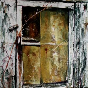 Wish you were here. Pink Floyd iconic song interpreted by Watercolor Master David Poxon. Old doors and windows, reclaimed by nature, Natural forces work their magic in David Poxon painting.