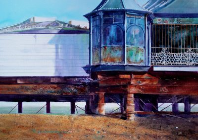 David Poxon painting 'On Brighton Beach' depicts the Brighton Pier a large victorian structure. Masters, Alliance, IWM, David, Poxon, Im david, Best seller,, Books, Art book, buy,