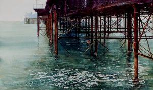Brighton, pier, painted by David Poxon. Master of watercolour David Poxon. at Mall Gallery London David Poxon RI